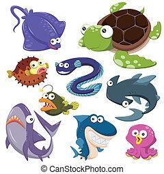illusration, hav, cartoon, samling, dyr