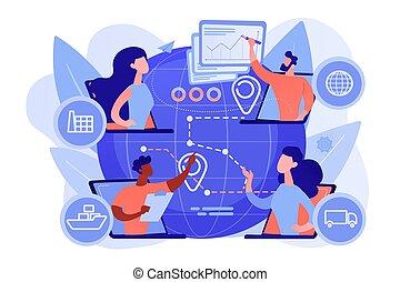 illustration, begreb, kæde, vektor, forråd, ledelse