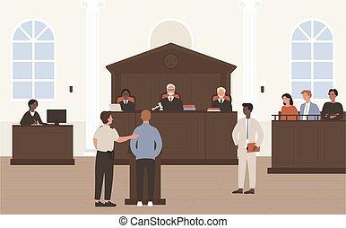 illustration, beliggende, forside, jury, advokat, proces, cartoon, lejlighed, karakter, lovlig, anklaget, forsvar, vektor, advokaten, gårdsplads, folk, dommer