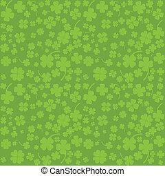 illustration), blad, kløvere, (vector, dag, fire, grøn baggrund, st.., patrick's