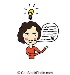 illustration, doodle, ikon, farve, person, ide, vektor