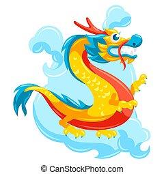 illustration, dragon., kinesisk