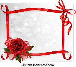 illustration., gave, rose, valentine s, baggrund., vektor, bow., dag, rød