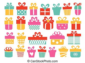illustration, gaver, bokse, nye, bånd, sæt, gaver, jul, vektor, firmanavnet, år, gave, lejlighed