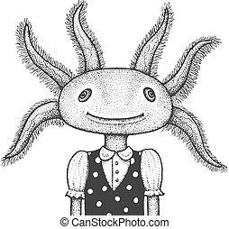 illustration, gravering, axolotl