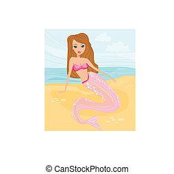 illustration, havfrue, smukke