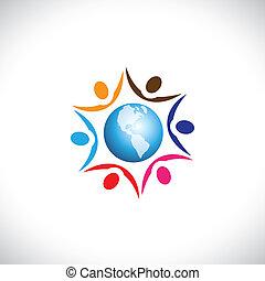 illustration, kald, multi, fred, centrum, folk, sammen, globale, mennesker, samfund, grafik, harmoni, det gengi'r, verden, icon., racemæssige, sammenvokse