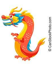 illustration, kinesisk, dragon.