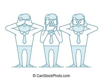 illustration, klog, tre, monkeys.