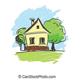 illustration, landskab, hus, vektor