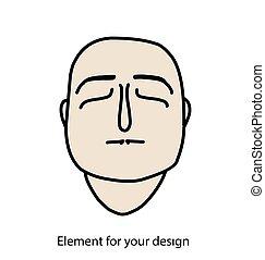 illustration, maske, dead., eyes., vektor, menneske, vaske, aflukket