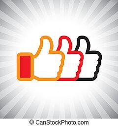illustration, medier, begreb, ligesom, oppe, graphic-, set., sociale, tre, icons(symbol), hånd, appelsin, farver, vektor, sort, tommelfingre, tegn, rød, show