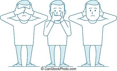 illustration, monkeys., tre, klog
