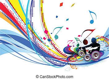 illustration, musik, baggrund