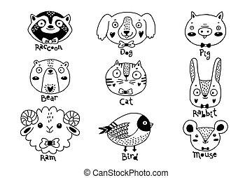 illustration, ram., bjørn, dyr, avatars, kanin, ansigter, gris, mus, vaskebjørn, fugl, rat., morsom, hund, hare, kat, vektor