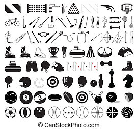illustration, sport, accessories., vektor, adskillige, samling