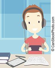 illustration, teenager, procrastinating, guy