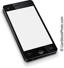 illustration., telefon, ambulant, skærm, realistiske, vektor, skabelon, blank, hvid, 3