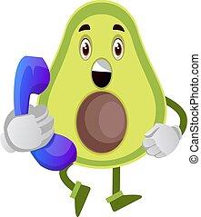 illustration, telefon, avocado, baggrund., vektor, hvid
