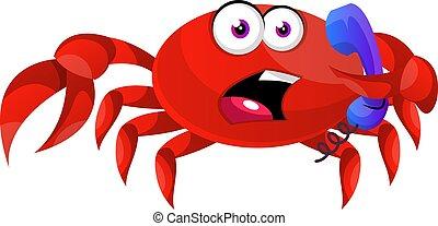 illustration, telefon, baggrund., vektor, krabbe, hvid