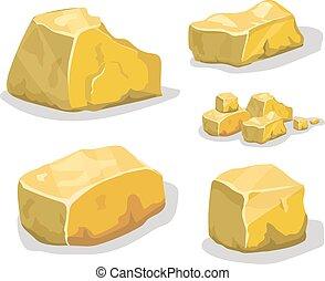 illustration., vektor, eller, design., ore, boldspil, cartoon, gylden, sten, sæt, forskellige, boulders.