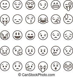 illustration., vektor, emoticons, baggrund, isoleret, hvid, sæt, udkast, emoji