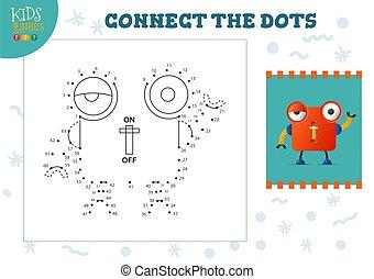 illustration., vektor, forbinde, prikker, boldspil, børn