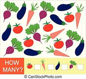 illustration., vektor, grønsager, optælling, matematik, eggplant, boldspil, children., hvordan, lærdom, antal, (tomato, carrot)., beet, mange