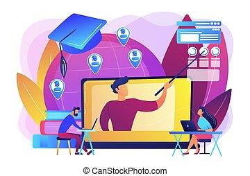 illustration., vektor, online, globale, begreb, undervisning