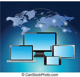 illustration, verden, konstruktion, netværk, elektroniske