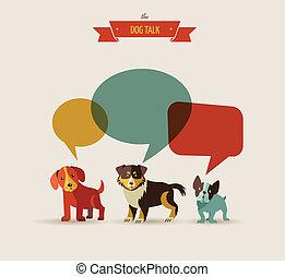 illustrationer, -, hunde, tal, iconerne