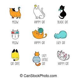 illustrationer, vektor, doodles, samling, kat