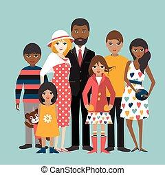 ilustration, familie, blandet væddeløb, 5, vector., children., cartoon