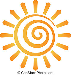 image, abstrakt, spiral, sol, logo