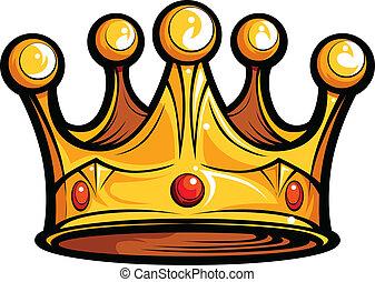 image, eller, afgiften, vektor, konger, cartoon, bekranse