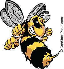 image, vektor, cartoon, hornet, bi