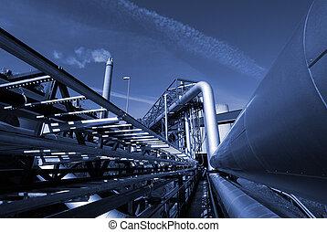 imod, blå himmel, industriel, klang, pipe-bridge, pipelines
