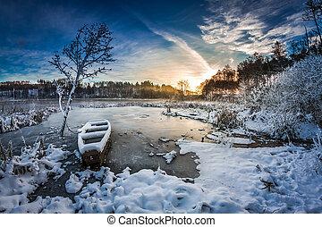 indefrossen, vinter, solopgang, sø