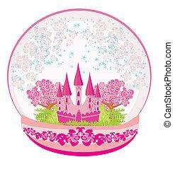 inderside, illustration, kuppel, slot, lyserød