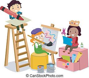 indgåelse, kunster, børn, stickman, håndværker