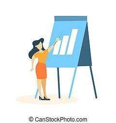 indgåelse, kvinde, præsentation, firma