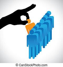 indgåelse, person, anden, grafik, ansøgerene, selskab, hr, udkårer, bedst, show, ræk rigtig, silhuet, valg, arbejde, færdigheder, mange, employee., illustration, repræsenteret, begreb