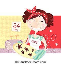 indgåelse, småkager, kvinde, jul