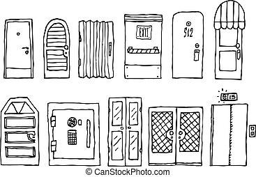 indgang, sæt, døre