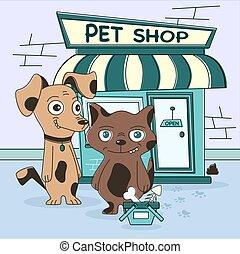 indkøb, hund, kat