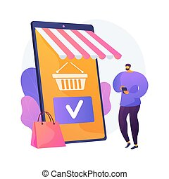 indkøb, vektor, metaphor., app, ambulant, begreb