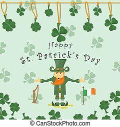 indskrift, afdækket, kæde, stænder, guld, kløver, st.., mønter, baggrund, gratulations, illustration, ferie, patricks, flag, irland, leprechaun, harpe, blade, dag, rød, festlige