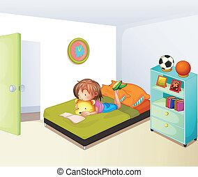 indstudering, pige, rense, hende, soveværelse