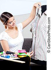 indtagelse, designeren, mode, kvindelig, måling