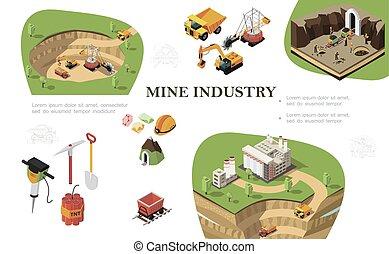 industri, mining, isometric, komposition